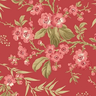 Tissu pacthwork bouquet fond rouge - Little Sweetheart d'Edyta Sitar