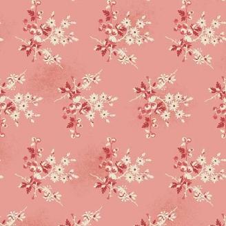 Tissu pacthwork baies et fleurs fond rose - Little Sweetheart d'Edyta Sitar