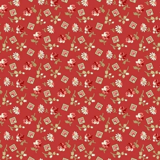 Tissu pacthwork minis carrés et fleurs fond rouge - Little Sweetheart d'Edyta Sitar