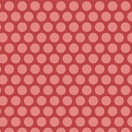 Tissu pacthwork pois roses fond rouge - Little Sweetheart d'Edyta Sitar