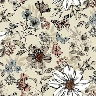 Tissu patchwork grandes fleurs et papillons fond crème - Dream de Makower