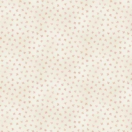 Tissu patchwork minis feuilles roses fond crème - Dream de Makower