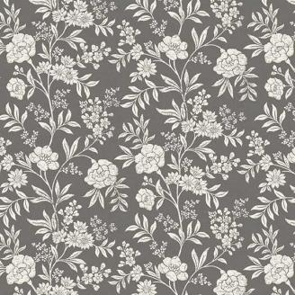 Tissu patchwork fleurs grimpantes crème fond gris - Dream de Makower