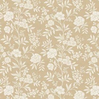 Tissu patchwork fleurs grimpantes écrues fond beige - Dream de Makower