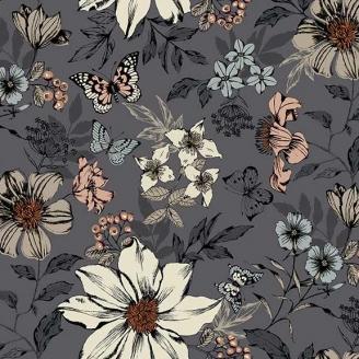 Tissu pacthwork grandes fleurs et papillons fond gris - Dream de Makower