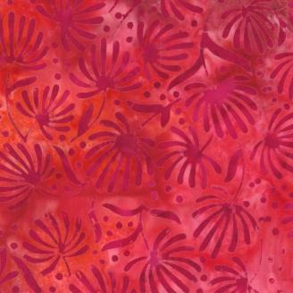 Tissu Batik rouge fleurs fuchsia dans le vent