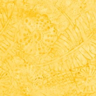 Tissu Batik jaune ton sur ton feuilles de bananier et fleurs