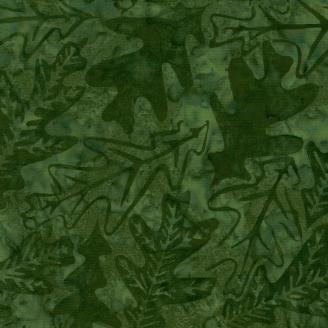 Tissu Batik feuilles de chêne vert bouteille