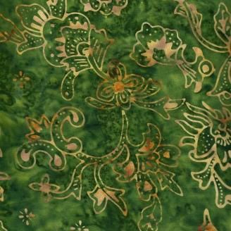 Tissu Batik fleurs indiennes ocre fond vert olive