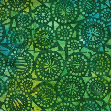 Tissu Batik vert fleurs et éclats