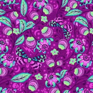 Tissu patchwork Tula Pink papillon Venus fond prune - De La Luna