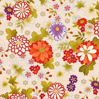 Tissu patchwork japonais chrysanthèmes fond écru - Kimono