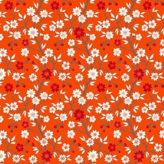 Tissu patchwork japonais cerisier en fleurs fond rouge - Kimono