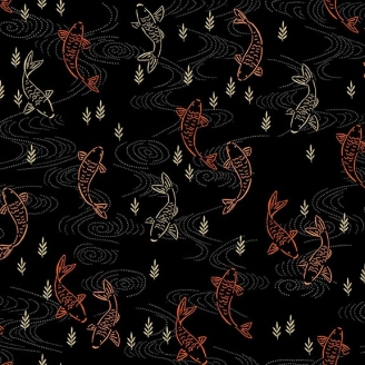 Tissu patchwork japonais carpes Koï fond noir - Kimono