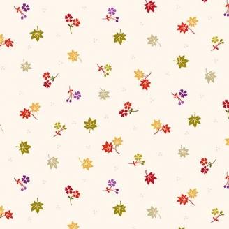 Tissu patchwork japonais feuilles d'érable fond crème - Kimono