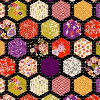 Tissu patchwork japonais hexagones fond noir - Kimono