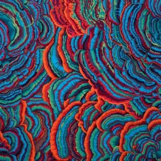 Tissu Philip Jacobs - Tree Fungi vert bleu PJ082