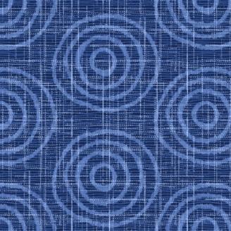 Tissu patchwork cercles concentriques bleus - Moody Blue