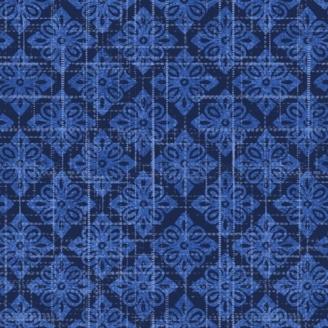 Tissu patchwork foulard bleu - Moody Blue