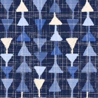 Tissu patchwork pointes de flèches bleues - Moody Blue