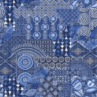 Tissu patchwork composition bleue - Moody Blue