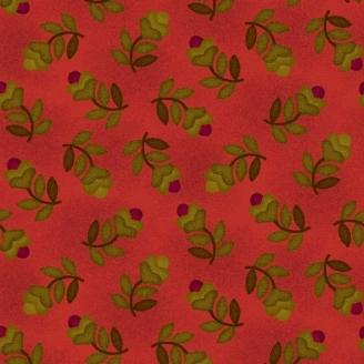 Tissu patchwork fleurs fond vermillon - Farmstead Harvest de Kim Diehl