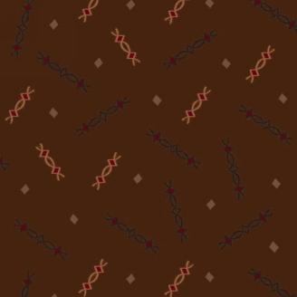 Tissu patchwork motif noir et rose fond chocolat - Farmstead Harvest de Kim Diehl