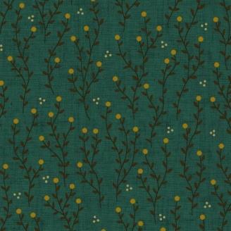 Tissu patchwork branches fond vert canard - Farmstead Harvest de Kim Diehl