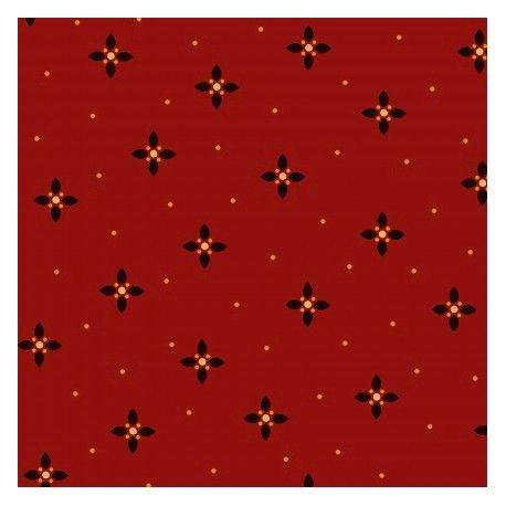 Tissu patchwork étoile noir fond rouge - Farmstead Harvest de Kim Diehl