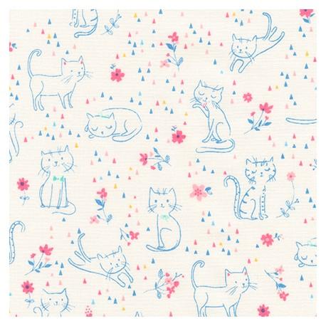 Tissu patchwork chats bleus fond blanc