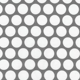Tissu patchwork gros pois blancs fond gris