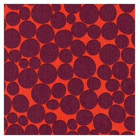 Tissu patchwork galets prune fond vermillon