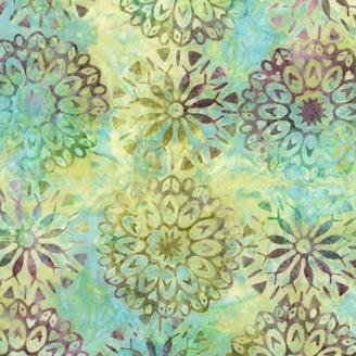 Tissu Batik rosaces fond vert d'eau