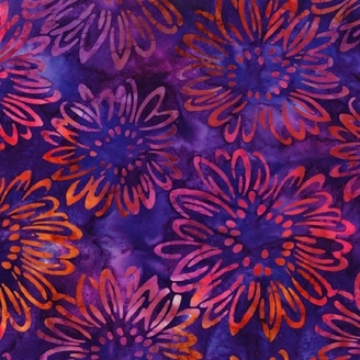 Tissu Batik fleurs de tournesols oranges fond violet