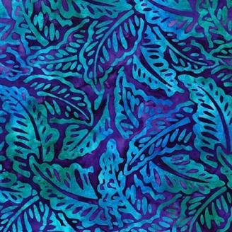 Tissu Batik feuilles turquoise fond violet