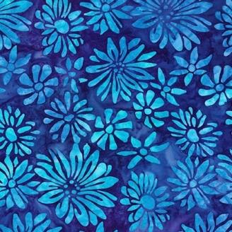 Tissu Batik fleurs turquoise fond bleu foncé