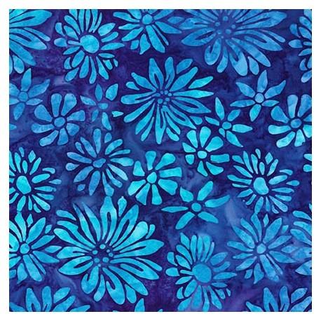 Tissu Batik Fleurs Turquoise Fond Bleu Fonce Au Fil D Emma