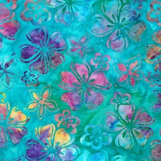 Tissu Batik fleurs tropicales multico fond lagon
