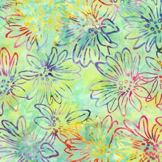 Tissu Batik fleurs multico fond vert clair