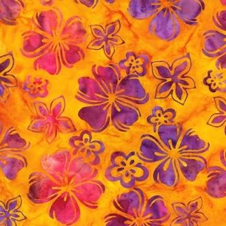 Tissu Batik fleurs tropicales violet fuchsia fond jaune