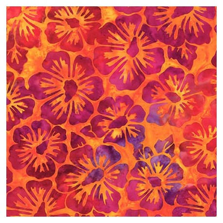 Tissu Batik fleurs fuchsia fond jaune orangé