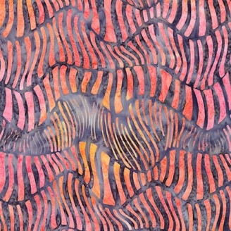 Tissu Batik ondulations oranges fond violet