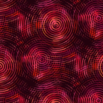 Tissu patchwork grande largeur cercles concentriques rouges et noirs (10 x 270 cm)