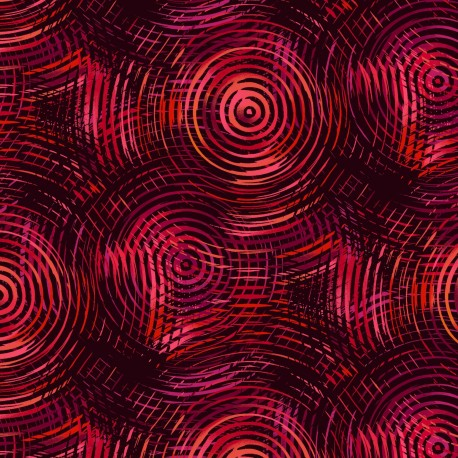 Tissu patchwork grande largeur cercles concentriques rouges et noirs(10 x 270 cm)