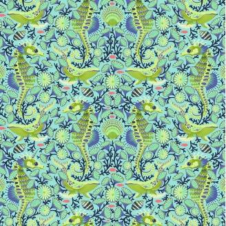 Tissu Tula Pink hippocampe et baleine verts Aquamarine - Zuma
