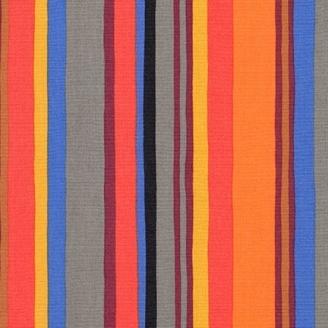 Tissu patchwork rayures grises oranges et bleues