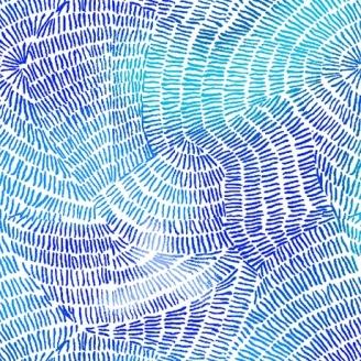 Tissu patchwork traits bleus fond blanc - Ombre Stitches