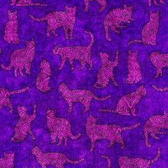 Tissu patchwork silhouettes de chats fond violet Purrsuasion