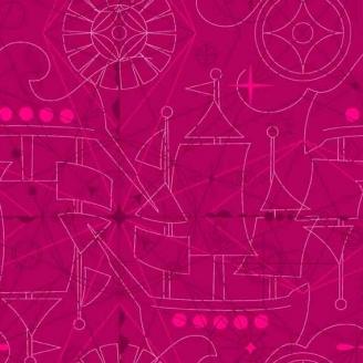 Tissu patchwork bateau fond lie de vin - Sun prints d'Alison Glass