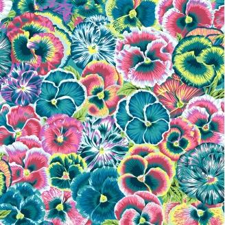 Tissu patchwork pensées fond bleu canard Arcadia - Snow Leopard designs